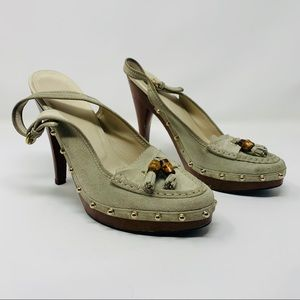 Authentic Gucci Suede Slingback Platform Heels